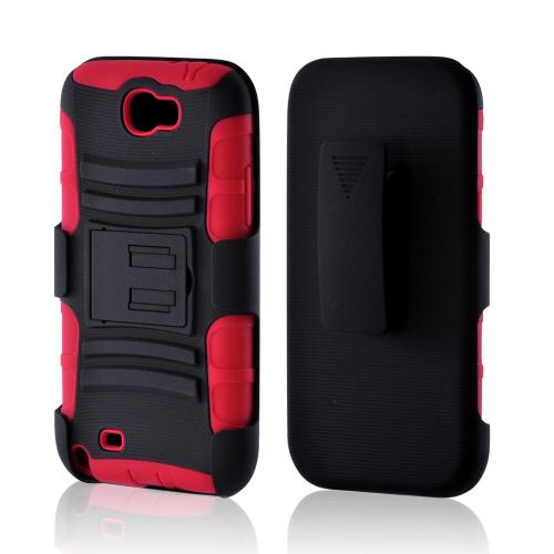 Manufacturers Black/ Red Rubberized Hard Cover On Silicone Case w/ Stand & Holster Stand w/ Swivel Belt Clip for Samsung Galaxy Note 2 Hard Cases