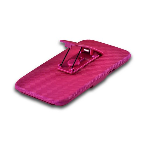 Rubberized Pink Holster Combo Hard Case w/ Belt Clip & Kickstand for Samsung Galaxy Note 2