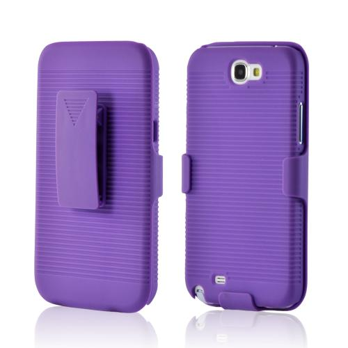Purple Rubberized Hard Case and Holster Combo w/ Kickstand for Samsung Galaxy Note 2