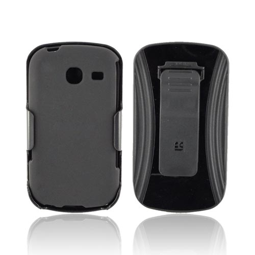 Samsung Freeform 3 Rubberized Hard Case w/ Screen Protector & Holster - Black
