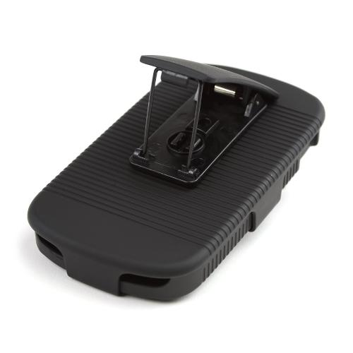 Black Rubberized Hard Case & Holster Combo w/ Kickstand & Swivel Belt Clip for Samsung Galaxy Exhibit