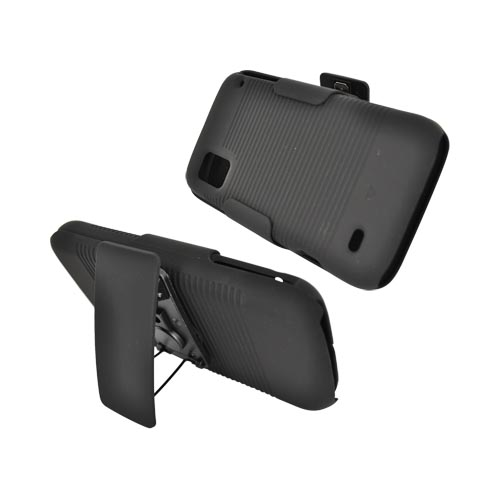 ZTE Warp Rubberized Holster and Case Combo w/ Stand - Black