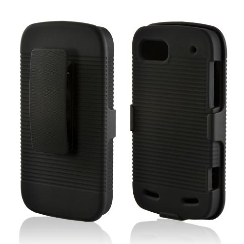 Black Hard Case & Holster Combo w/ Kickstand & Swivel Belt Clip for ZTE Warp Sequent/ Warp 2 N861