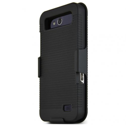 ZTE Overture 2 Holster Case, [BLACK] Supreme Protection Rubberized Plastic Case with Holster & Belt Clip