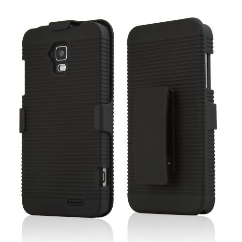 AT&T Z998 Case, Black Rubberized Hard Case & Holster Combo w/ Kickstand & Swivel Belt Clip
