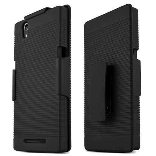 ZMax Case, [Black] Supreme Protection Rubberized Plastic on Silicone Dual Layer Hybrid Case with Holster & Belt Clip for ZTE ZMax