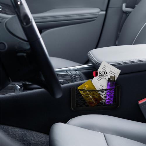 Black Car Net Bag Phone Holder Storage Pocket Organizer [Also great for wallet, keys, pens, and MORE!]