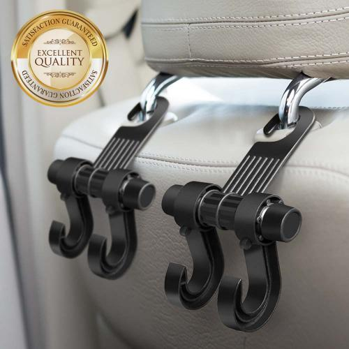 Universal Multifunction Car Seat Hook, Double Vehicle Seat Back Car Hanger Hook [Black]