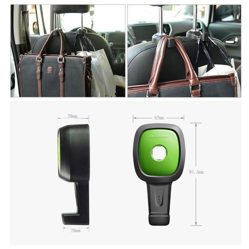 [2PK] Multifunction car seat hook, [Black/ Green] single vehicle seat back car hanger hook