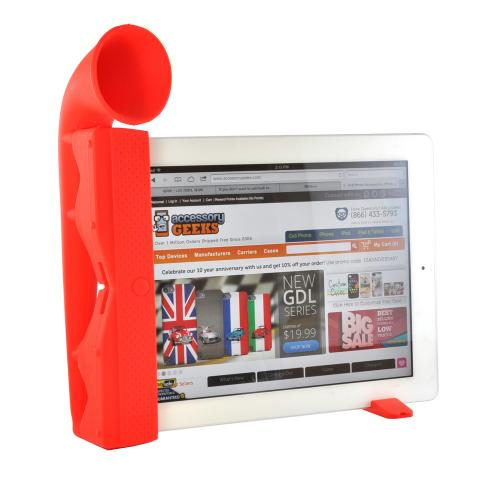 Red Silicone Horn Stand w/ Detachable Horizontal Stabilizer for iPad 2/3/4