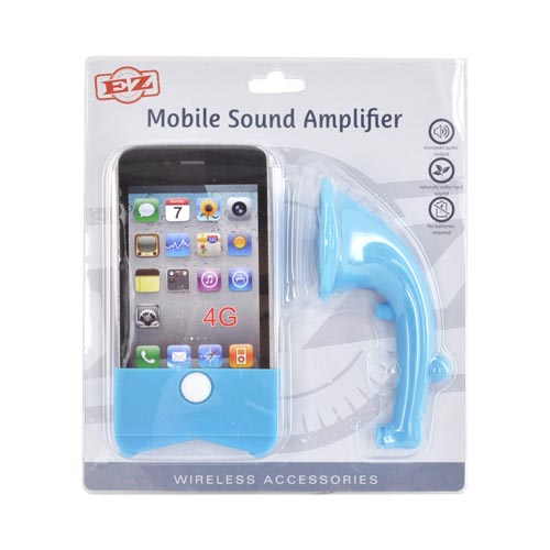 AT&T/ Verizon Apple iPhone 4, iPhone 4S Silicone Horn Stand Case - Sky Blue