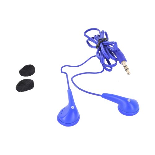 Universal Earbud Stereo Headset w/ Ear Cushions (3.5mm) - Blue