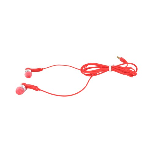 Earbud Stereo Headset w/ Ear Gel Cushions (3.5mm) - Red