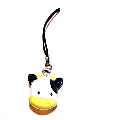 Universal Animal Bell Cell Phone Charm/ Stopple - Black/ White Cow
