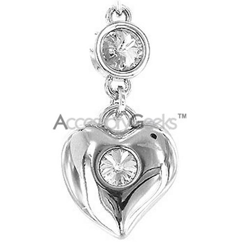 Sterling Silver Big Heart w/ 3 Gems - Clear