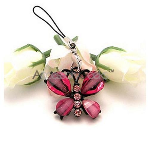 Glamorous Butterfly Cell Phone Charm/ Strap - Hot Pink