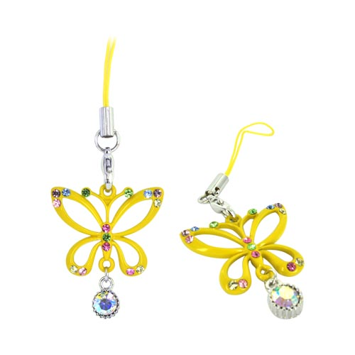 Butterfly Cellphone Charm/ Strap w/ Multi Colored Gems - Yellow