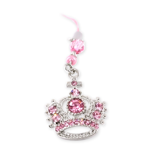 Sparkling Crown Cell Phone Charm - pink