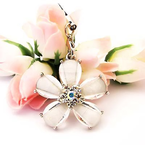 Daisy Cellphone Charm/Strap w/ Cubic Stone - Transluscent Clear