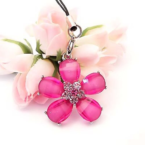 Daisy Cellphone Charm/Strap w/ Cubic Stone - Transluscent Pink