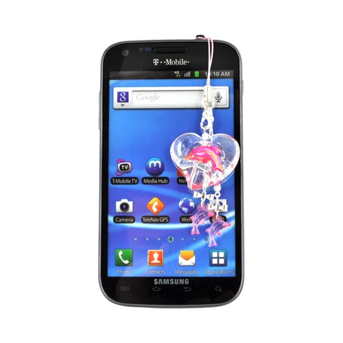 Dolphin in Clear Heart Cellphone Charm/ Strap - Pink