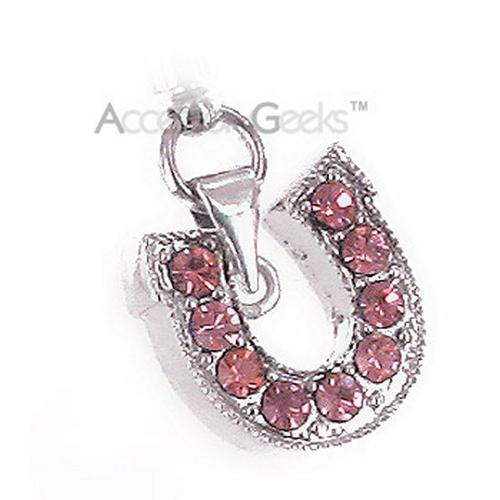 Horse Shoe with Cubic Stones Charm - pink