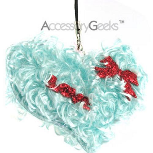 Adorable Curly Soft Fur Heart Strap - baby blue