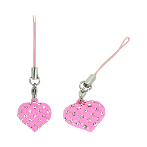 Heart w/ Clear Gems & Mini Heart Cutouts Cellphone Charm/ Strap - Pink