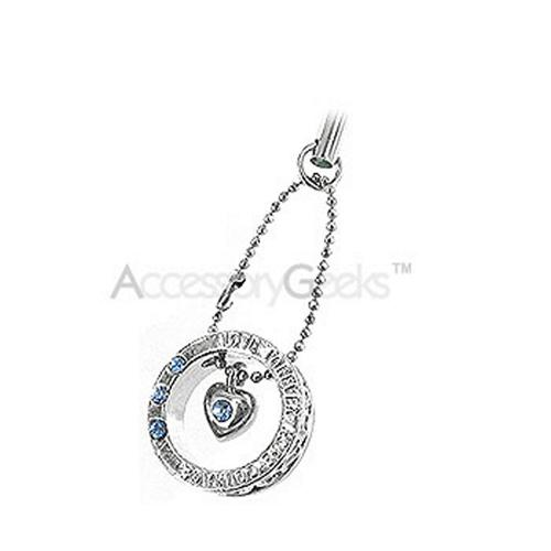 Ring with Cubic Stones and Heart Cell Phone Charm - blue
