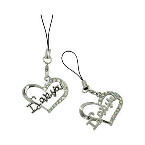 I Love You Heart Cellphone Charm/ Strap - Clear Gems