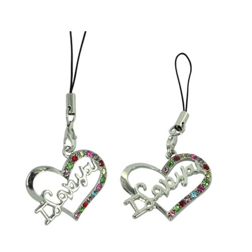 I Love You Heart Cellphone Charm/ Strap - Multi Colored Gems