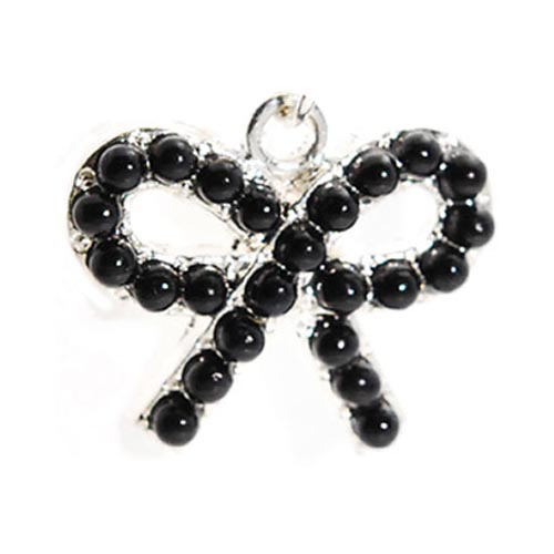 3.5mm Headphone Jack Stopple Charm - Black Pearl Bow Tie