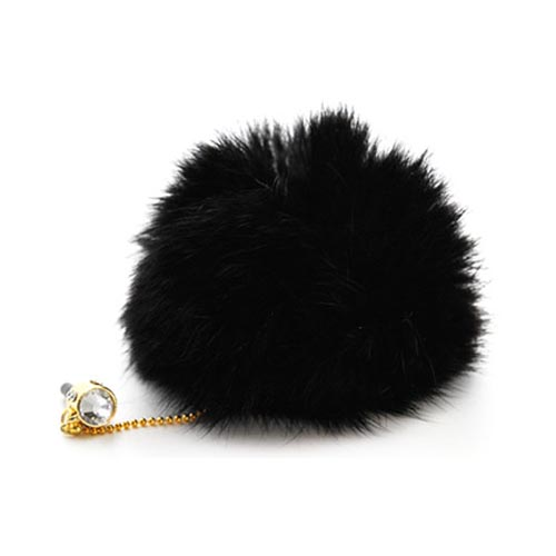 Universal 3.5mm Headphone Jack Stopple Charm - Black Fur