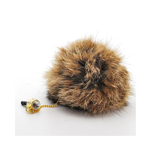 3.5mm Headphone Jack Stopple Charm - Brown Fur