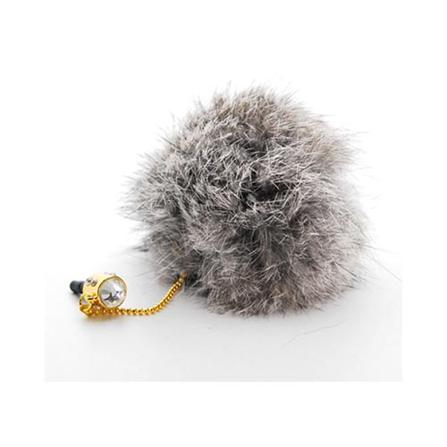 Universal 3.5mm Headphone Jack Stopple Charm - Gray Fur