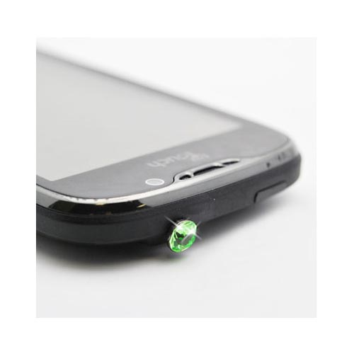 Universal 3.5mm Headphone Jack Stopple Charm - Light Green Gem