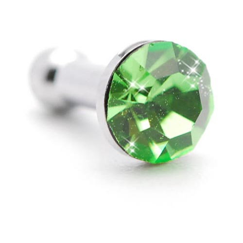 3.5mm Headphone Jack Stopple Charm - Light Green Gem