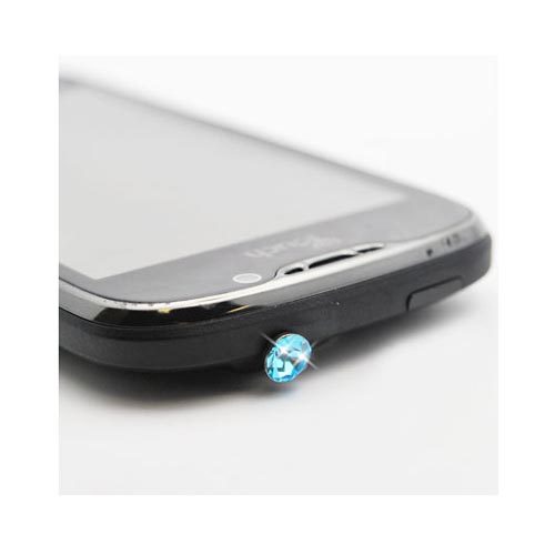3.5mm Headphone Jack Stopple Charm - Light Turquoise Gem