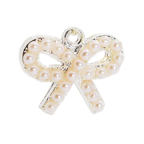 3.5mm Headphone Jack Stopple Charm - Light Pink Pearl Bow Tie