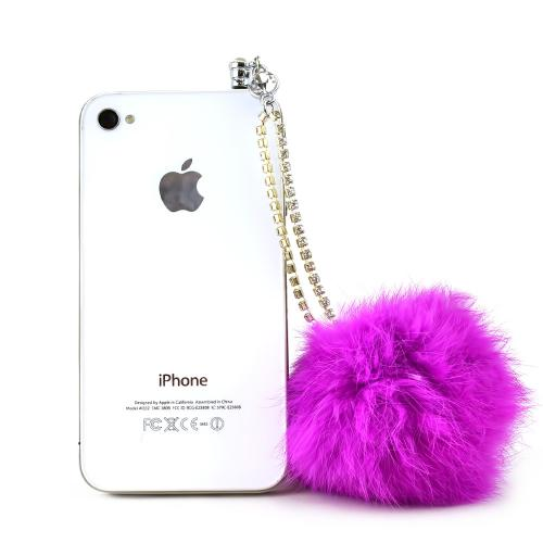 Universal 3.5mm Headphone Jack Stopple Charm - Pink Fur