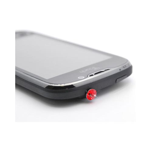 3.5mm Headphone Jack Stopple Charm - Red Gem