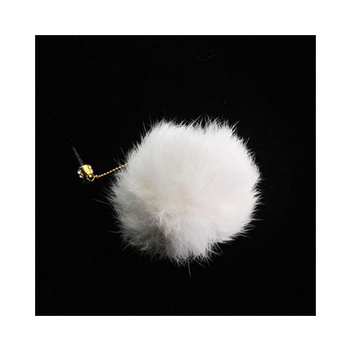 Universal 3.5mm Headphone Jack Stopple Charm - White Fur