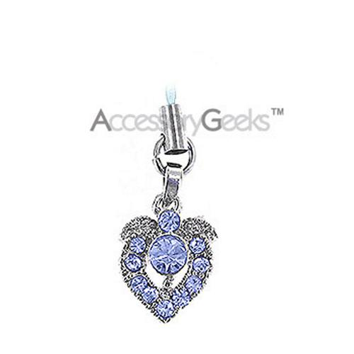 Shiny Apple Shaped Heart Cubic Charm / Strap - blue