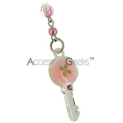 Luminous Key w/ Clover Cell Phone Charm/Strap - Baby Pink