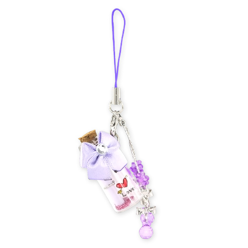 Love Message Bottle w, Ribbon Cellphone Charm,Strap - Purple