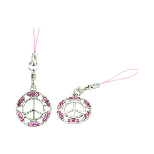 Peace Sign w/ Gemmed Border Cellphone Charm/ Strap - Pink