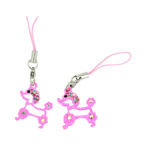 Poodle Cellphone Charm/ Strap w/ Multi Colored Embedded Gems - Pink