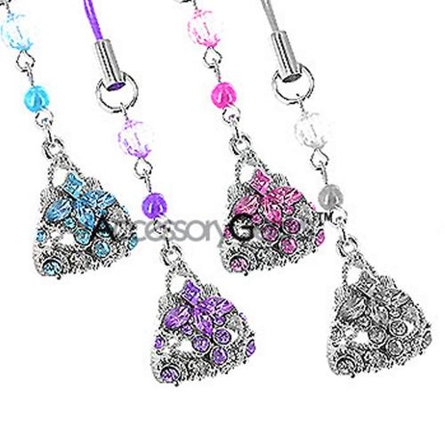 Purse with Cubic Stones Charm - purple