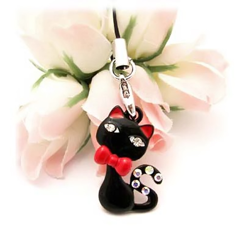 Bow Tied Cat Cellphone Charm,Strap w, Clear Gems - Black