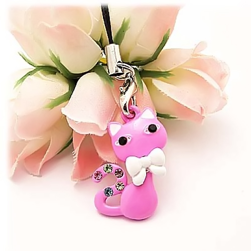 Bow Tied Cat Cellphone Charm/Strap w/ Multi Colored Gems - Pink